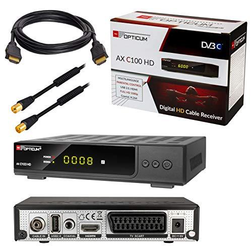 HB-DIGITAL Set: Opticum AX C100 HD Receiver für digitales Kabelfernsehen (HDMI, SCART, USB 2.0, Mediaplayer) + 2m HDTV Antennenkabel vergoldet mit Mantelstromfilter schwarz + HDMI Kabel