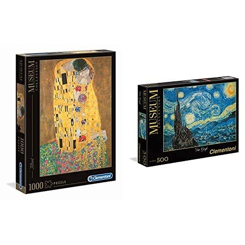 Clementoni Museum Collection-Klimt: Il Bacio Los Pingüinos De Madagascar Puzzle + Noche Estrellada Van Gogh Los Pingüinos De Madagascar Puzzle 500, Piezas, Multicolor (30314.4)