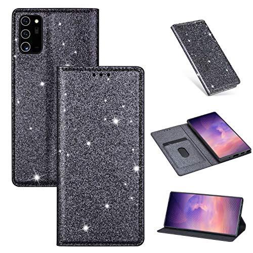 Nadoli Glitzer Wallet Hülle für Samsung Galaxy Note 20,Bling Schutzhülle Leder Flip Case Lederhülle mit Kartenfach Standfunktion Klappbar Magnetisch Etui