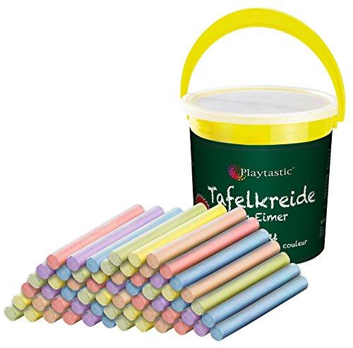 Playtastic NC-1684 Lot de 60 craies multicolores dans un seau pratique (craie pour tableau), multicolore