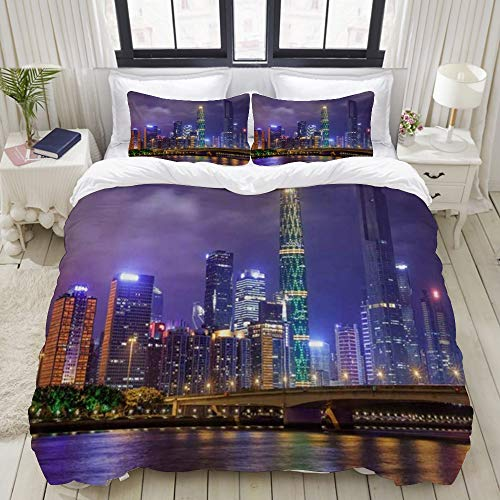 bedding - Duvet Cover Set, Queensboro Bridge NYC Night Art Prints New York City View Modern Urban Art Print,3-Piece Comforter Cover Set 200 x 200 cm +2 Pillowcases 50 * 80cm