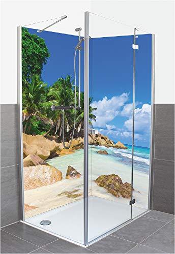 Artland Duschrückwand Eck mit Motiv Fliesenersatz Alu Rückwand Dusche Duschwand Bad 2 Segmente Wunschmaß Strand Palme Meer Karibik Malediven R2PV