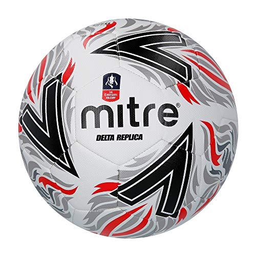 Mitre Delta Replica FA Cup - Pallone da calcio, unisex, nero rosso, 5