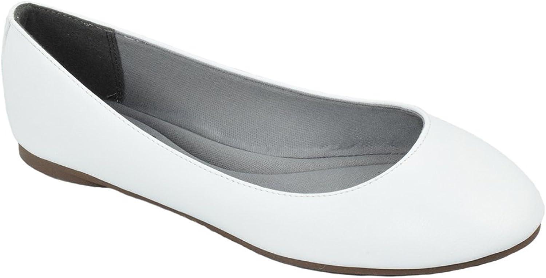 SODA Comfortable Basic shoes Women Ballet Flat Round Toe Gel Insole Kreme White PU 7