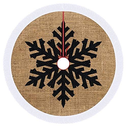 Falda para árbol de Navidad, 91,4 cm, copo de nieve negro sobre arpillera marrón
