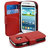 Cadorabo Hülle für Samsung Galaxy S3 Mini - Hülle in Inferno ROT – Handyhülle mit Kartenfach aus struktriertem Kunstleder - Case Cover Schutzhülle Etui Tasche Book Klapp Style