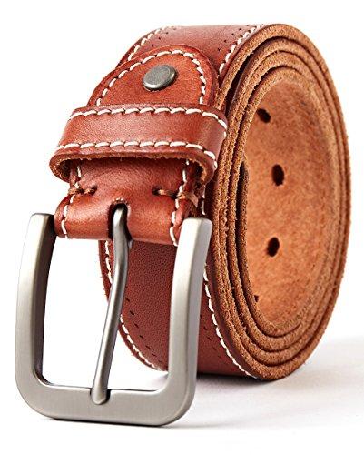 3ZHIYI Vintage Cintura Uomo in pelle di bufalo Jeans Abbigliamento Casual Wear (Marrone, 120CM (dimensione rettificata 37'-43'))