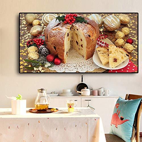 KWzEQ Escandinavo Gourmet Pan Lienzo Arte Cartel Mural Restaurante decoración nórdica,Pintura sin Marco,60x120cm