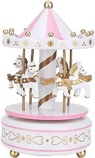 Boîte à musique de cheval de carrousel avec 4 chevaux rotatifs, lumière de couleur musicale, cadeau de fête d'anniversaire...