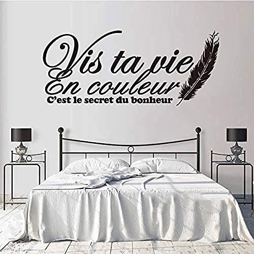 Wall Stickers,Sticker muraux quote Française Vis Ta Vie En Couleur sticker Muraux En Vinyle removable art Papier Peint Salon salon Salmbre Décoration