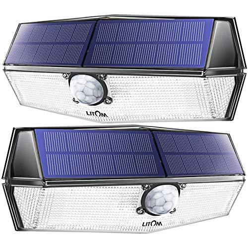 200 LED Solarlampen für außen【Neueste Version】LITOM Solarleuchten mit Bewegungsmelder,3 Modi,270°Beleuchtungswinkel,IP67 Wasserdicht,led solar außen,Solarlampe für Garage,Treppen Weiß 2- Stück