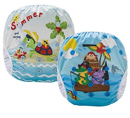 Pannolini Piscina Costume Contenitivo Neonato Bambino Riutilizzabili Pannolini da Nuoto Mare E Piscina Baby 0-36 Mesi Slip Cover Lavabile Spiaggia 3-12 kg Costumino Bimba Set 2