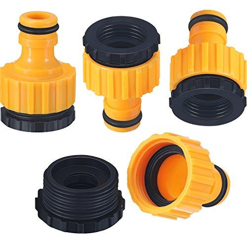 Paquete de 4 conectores de grifo de plástico para manguera de jardín, 1/2 y 3/4 pulgadas, tamaño 2 en 1