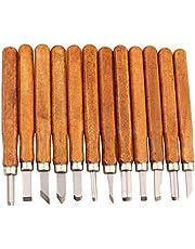Maike Mall Juego de cinceles - Escultura de cinceles, cuchillo de trinchar hecho a mano para DIY mango de madera de herramientas Wax Carving 12 Pieces