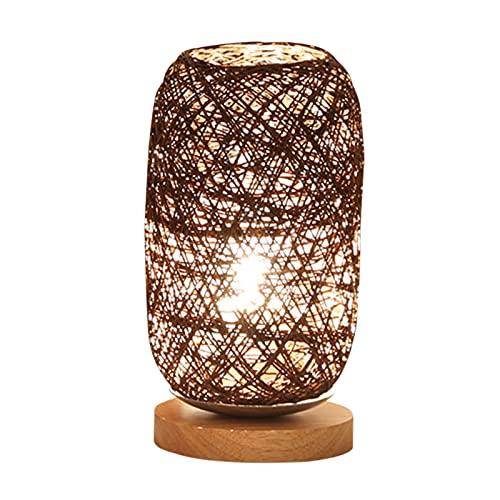 Lámpara de Mesa Cabecera DIRIGIÓ Lámpara de mesa con USB Pantalla de ratán rústico eléctrico Lámparas de madera de la base de la base del brillo ajustable de la luz para los adornos del hogar Lámpara