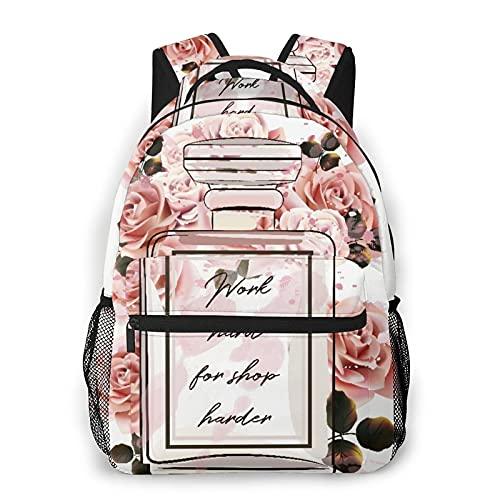 CVSANALA Multifuncional Casual Mochila,Hermosa botella de vidrio de perfume rosa de moda y rosas en estilo acuarela,Paquete de Hombro Doble Bolsa de Deporte de Viaje Computadoras Portátiles