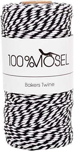 Kordel Schwarz Weiß | 100 m | 2 mm stark | Bastelschnur | Bakers Twine | Baumwollschnur | Geschenkband | Dekokordel