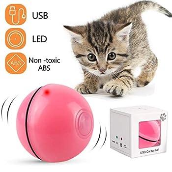 Jouet Interactif pour Chat, Boule Auto-Rotative à 360 Degrés, Chargement USB Jouet Exercice à LED, Balles Interactives Automatiques Rotatives pour Chatons de Chaton Prenant et Amusant (Rose)