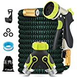 JORAIR 100FT Expandable Garden Hose Water Hose with 8-Function High-Pressure Spray Nozzle, Heavy...
