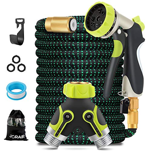 """JORAIR 100FT Expandable Garden Hose Water Hose with 8-Function High-Pressure Spray Nozzle, Heavy Duty Flexible Hose, 3/4"""" Solid Brass Fittings Leakproof Design"""