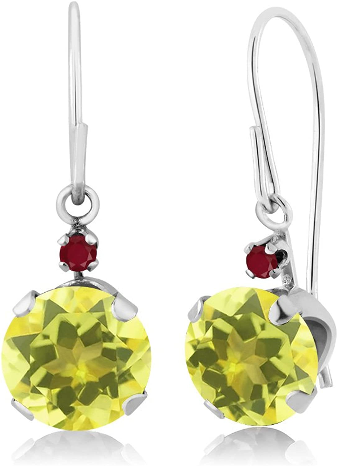 2.04 Ct Round Canary Mystic Topaz Red Ruby 14K White gold Earrings