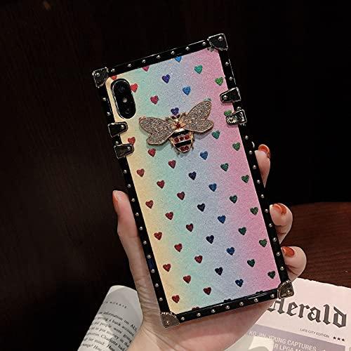 Funda cuadrada para iPhone 12, bonita funda con purpurina degradada, esquinas reforzadas con silicona delgada, funda de cojín de TPU, contraportada para iPhone 12 Pro ( Color : B , Size : X-Small )