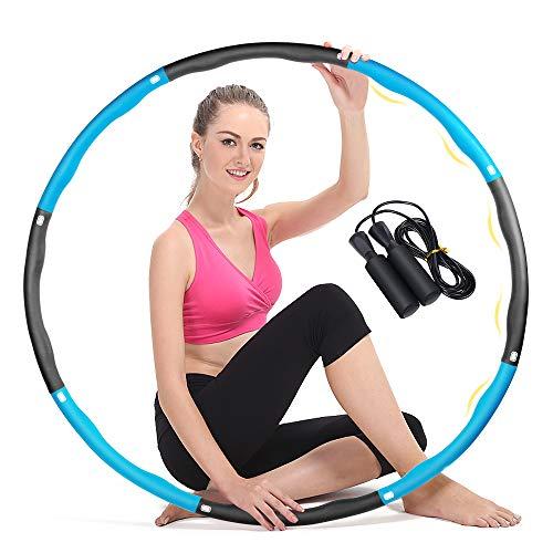 Aoweika Fitness Hula Hoop Reifen zur Gewichtsreduktion 1.1kg, 6-8 Abschnitt Abnehmbar Fitness Übung Gewichtet Hula Hoops Reifen mit Springseil Geeignet für Erwachsene und Kinder