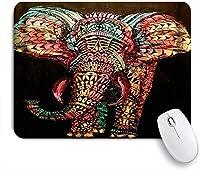 ZOMOY マウスパッド 個性的 おしゃれ 柔軟 かわいい ゴム製裏面 ゲーミングマウスパッド PC ノートパソコン オフィス用 デスクマット 滑り止め 耐久性が良い おもしろいパターン (黒の背景に象)