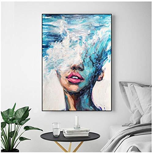 Poster Bilder Abstrakte Graffiti Frauen Kunst Wandmalereien Drucken auf Leinwand Pop Prints Moderne Mädchen Ölgemälde für Wohnzimmer Wanddekoration 30 x 40 cm x1 Stück ohne Rahmen