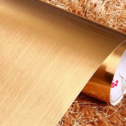 Haus Dekoration 2 Meter wasserdichte PVC Marmor/Holz/Pure Color Wallpaper Fashion Popular Wohnzimmer Küche-Wand-Aufkleber-Raum-Dekor Film Aufkleber (Color : Gold, Size : 40cm x 5 Meters)