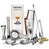 Cocktail Shaker Set by Sidecar Mixology: 16 Piece Premium Silver Stainless Steel Bartending Kit for the Home Bar - Mix a Martini or other Craft Drink by Hand with Professional Barware Accessories