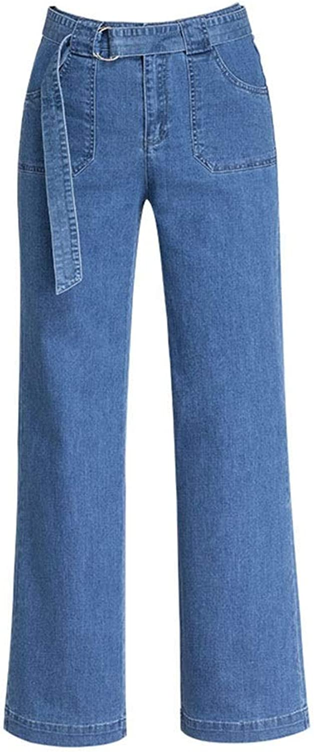 Jeans Women's New Straight WideLeg Pants High Waist Loose Belt Trousers was Thin Side Seam Raw Wide Leg Pants Jeans (color   bluee, Size   27 M)