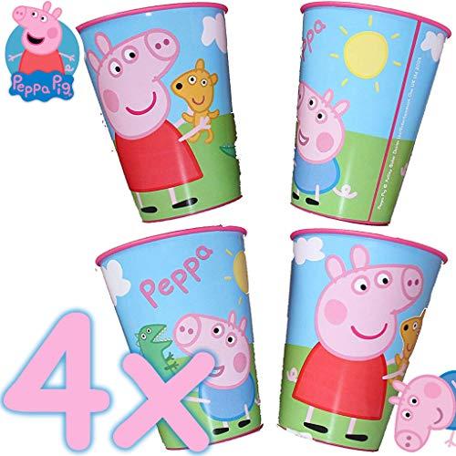 Neu: 4X Stabile Kunststoff-Becher * Peppa Pig * für Mottoparty und Kindergeburtstag | Kinder Geburtstag Motto | Perfekt ALS Mitgebsel | Wutz Schwein