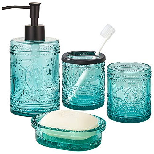 KMWARES 4PCs Heavy Weight Decent Real Solid Teal Blue Glass Bathroom Accessories Set with Decorative Pressed Pattern - Includes Hand Soap Dispenser & Tumbler & Soap Dish & Toothbrush Holder