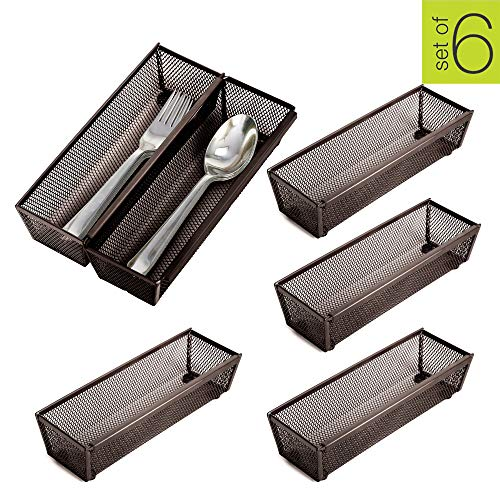 Smart Design Drawer Organizer - (9 x 3 Inch) - Steel Metal Mesh - w/Interlocking Arm Connection - Utensils, Flatware, Organization - Kitchen [Bronze] - Set of 6