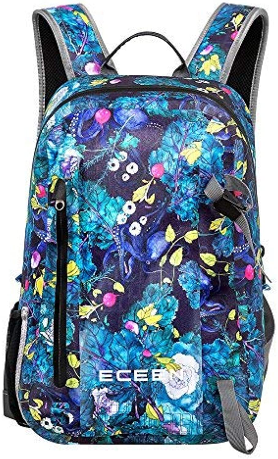ECEEN Waterproof Backpack 20L Dry Bag with Padded Shoulder Straps Phone Pocket & Bottle & Hiking Stick Holder Perfect for Kayaking Swim Beach Hiking Boat Sailing Camping Fishing (FlowerPack)