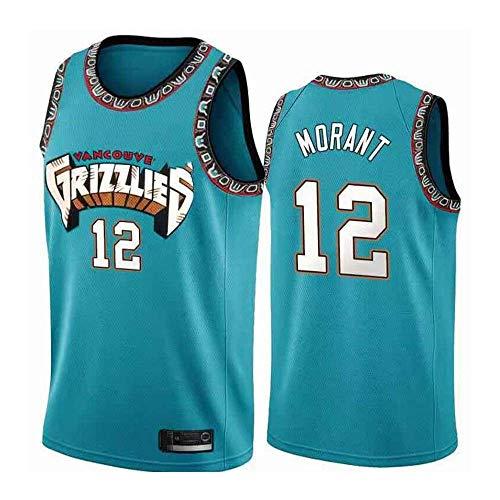 HEBZ NBA De los Hombres Camiseta de Baloncesto Grizzlies # 12 Ja Morant Malla Jerseys cosidos Cool Aptitud Swingman,XL(185cm/85~95kg)
