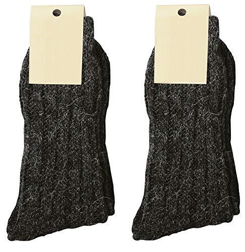 krautwear 2 pares de calcetines de lana con alpaca para hombre y mujer hasta la talla 50 Antracita 2 unidades. 43-46