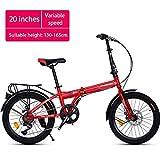Chang Xiang Ya Shop Vitesse Variable 20 Pouces vélo Route Adulte vélo Scooter Portable en Plein air vélo for Enfants Peut-il être placé dans Le Coffre VTT Pliable (Color : Red, Size : 20 inches)