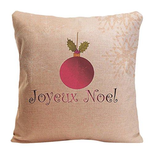 ldj algodón poliéster silla cuadrado manta funda de almohada Funda de cojín (funda de almohada diseño con Joyeux Noel Navidad bombilla con estrellas copos de nieve personalizado de almohada Impresión de doble cara tamaño 18x 18pulgadas