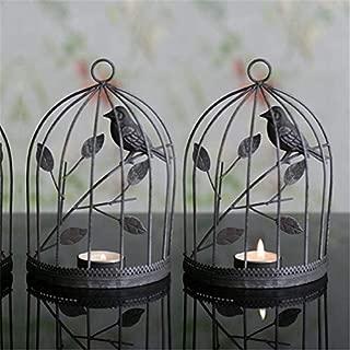 Motonupic European Style Iron Birdcage Vintage Candlestick Home Decorated Romantic Creative Ornament - Orange Decorative Iron Fashion Lantern Emergency Illuminate Bath Vase Rose Glass D