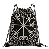 Magic Rune Compass In Nordic Runes And Dragon Tattoos Men And Women Drawstring Backpack Bag Lightweight Sport Gym Bag Polyester Cinch Bags for Yoga Travel Shopping