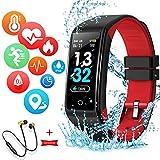 Montre Connectée Intelligente Femmes Homme Enfant Smartwatch Etanche Bracelet Connecté Podometre Cardio fréquencemètre et Ecouteur Bluetooth Sport pour iPhone/Samsung/Huawei (Rouge)