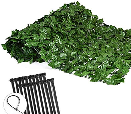 QTT Privacy Fence Screen Artificial Hedges Faux Ivy Vine Leaf Waterproof Leaves Decorative Fences for Outdoor Decor Garden Fence (Color : Grass Green, Size : 1x0.5m)