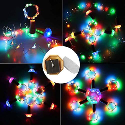 Luz Led,TwoCC Corcho en Forma de Energía Solar Luz Led Cielo Estrellado Luz Botella de Vino Lámpara Decoración 6Pc