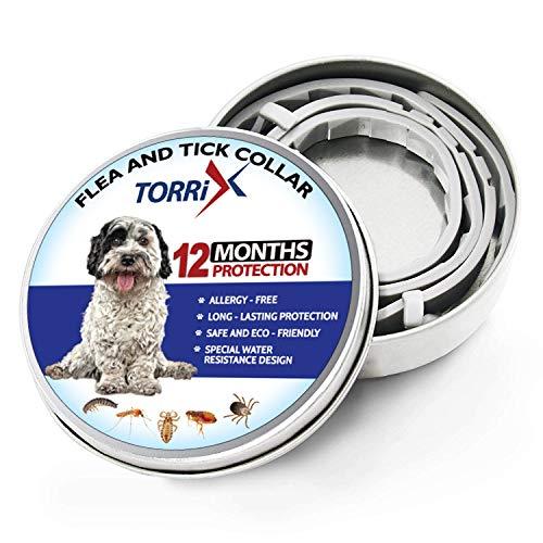 TORRIX Collare antipulci e zecche per Cani, 12 Mesi, per Controllo delle zecche e delle pulci per Cani, Trattamento Naturale a Base di Erbe, Non tossico, Protezione Impermeabile e Regolabile