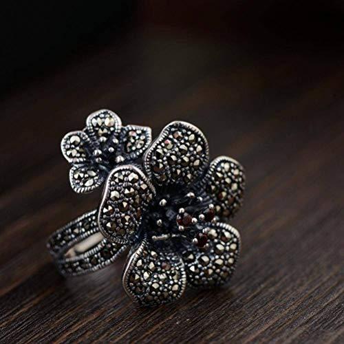 WOZUIMEI Ringschmuck im Chinesischen Stil S925 Sterling Silber Ring Eingelegt Markasit Antike Blume Reich und Elegant Thai Silber RingRing, 17.5