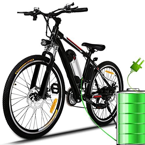 """Bunao Vélo électrique pour vélo de Montagne électrique avec moyeu Shimano 21 Vitesses, 250W, 8AH, Batterie Lithium-ION 36V, 26"""", vélo de Ville léger, vélo de Ville Pedelec (Noir)"""