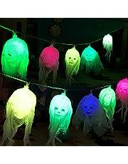 Queta Halloween lichtsnoer decoratie 10 LED decoratief licht skeleton skull horror sfeerlicht voor bar, party, winkelcentrum, scènelay-out (batterij niet inbegrepen)