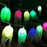 Queta Halloween Props 10 LED Lumières Décoratives d'halloween Guirlande Lumineuse Halloween à Piles (Batterie Non Incluse) (Crâne Multicolore)